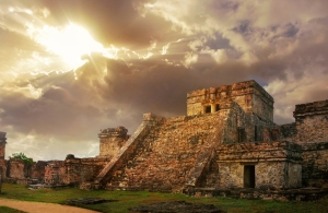 Castillo fortress at sunrise in the ancient Mayan city of Tulum